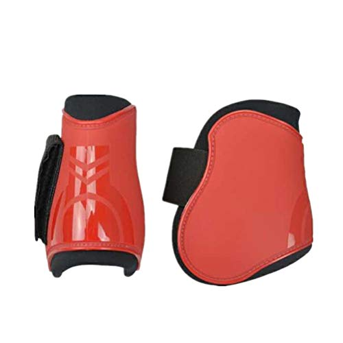 UNISTRENGH Horse Care Boots Open Front Jumping Tendon and Hind Fetlock Horse Secure Leg Protection Boots Lightweight Tough Dressage Horse Riding Equestrian Equipment (Red, 2 Front&2 Hind Boots)