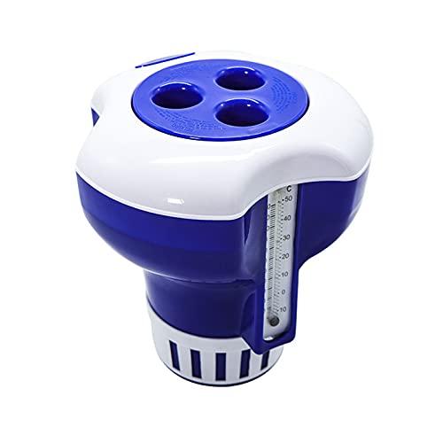 MILONT Dosificador flotador de piscina + termómetro, dispensador de productos químicos para piscinas, tamaño grande, azul y blanco, 7 pulgadas
