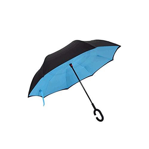 Handfreier Regenschirm Umgekehrter Regenschirm mit Doppelschicht und C-förmigem Griff Wasserdichter