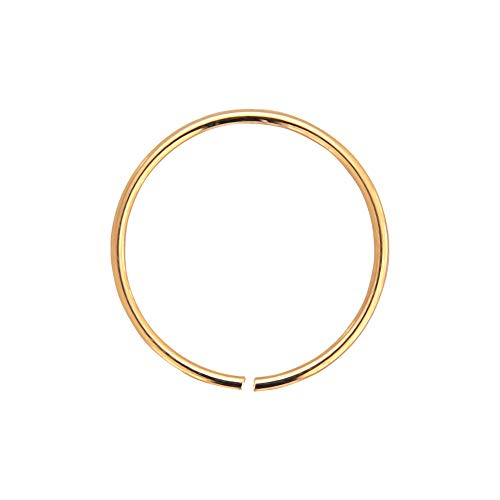 AZARIO LONDON 9K Rose Gold 24 Gauge (0.4MM) - 6MM Diameter Seamless Continuous Nose Hoop Ring