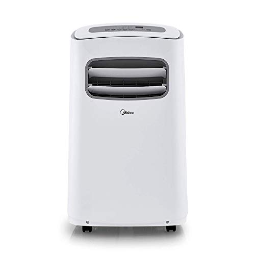 MIDEA MAP10S1CWT 3-in-1 Portable Air Conditioner, Dehumidifier, Fan, for Rooms up to 200 sq ft Enabled, 10,000 BTU DOE (5,800 BTU SACC) control with Remote, Smartphone or Alexa