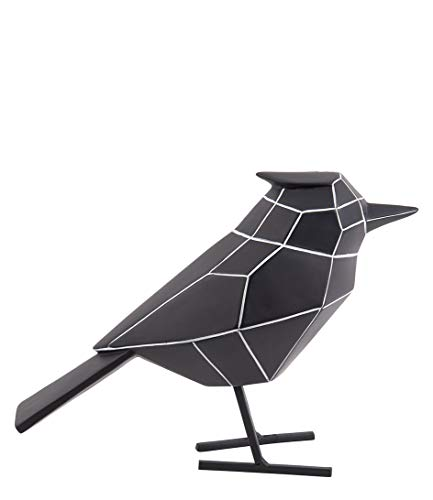 Present Time - Statue Oiseau Noir Rayures Blanches Large Origami