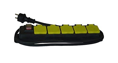FESA Ciabatta multipresa a 5 prese con coperchio per esterno, colore: nero e giallo