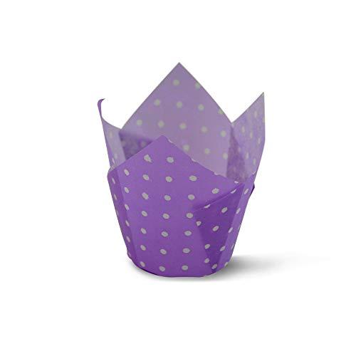SimpleGood Tazza da forno a tulipano Viola a pois, fodere per cupcake, fodere per muffin, carta oleata - 100