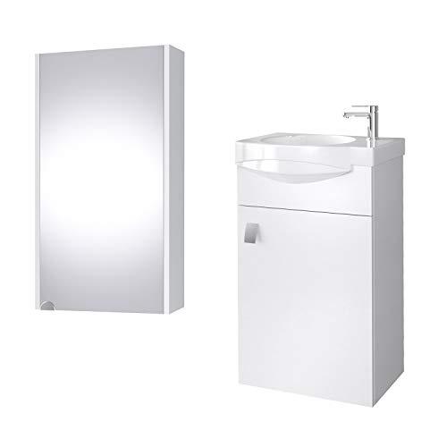 planetmoebel Badmöbel Set Gäste WC Waschtischunterschrank Keramikwaschbecken Spiegelschrank 40cm (Weiß)