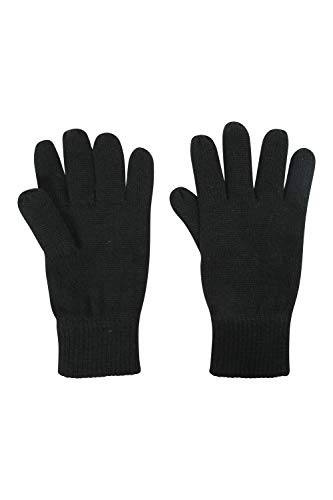 Mountain Warehouse Thinsulate Mens Knitted Gloves Knitted Effect Ski Gloves Double Lined Black