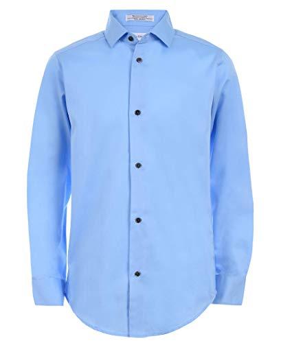 Calvin Klein Boys' Big Long Sleeve Sateen Dress Shirt, Light Blue, 10