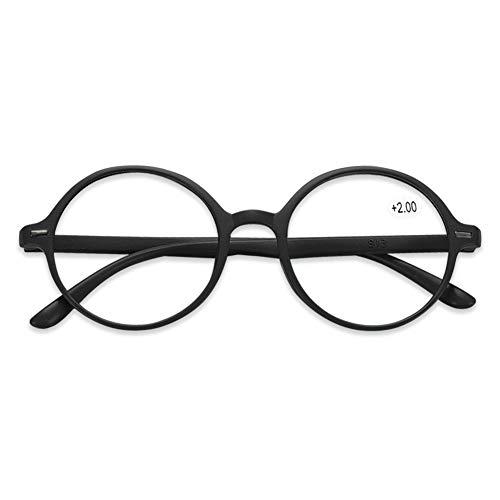KOOSUFA Lesebrille Damen Herren Leicht Retro Runde Nerdbrille Lesehilfen Sehhilfe Vollrandbrille Anti Müdigkeit Brille mit Stärke 1.0 1.5 2.0 2.5 3.0 3.5 4.0 (Schwarz, 2.5)