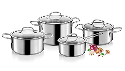 Tescoma Optima - Batería de cocina de 8 piezas, acero inoxidable