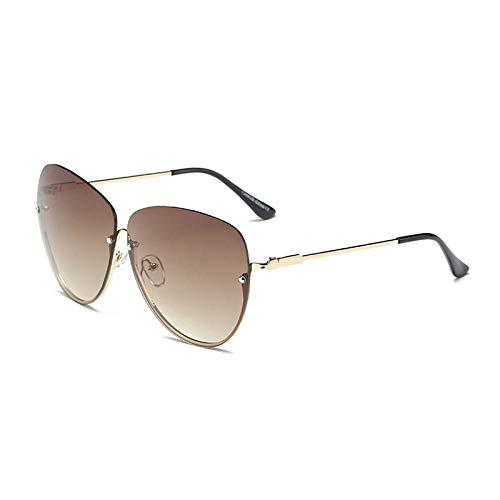 Sonnenbrille Herren Mode Sonnenbrille Von Höchster Qualität Frauen Klassische Sonnenbrille Im Pilotstil Mit Farbverlauf Männer Big Metal Half Frame Brille Unisex Gold-Brown