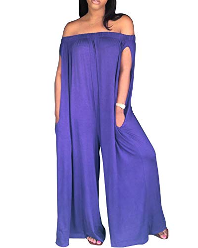 BONESUN Womens Off Shoulder Loose Wide Leg Palazzo Pants Jumpsuit Long Rompers Summer Casual Plus Size (Purple, 2XL)