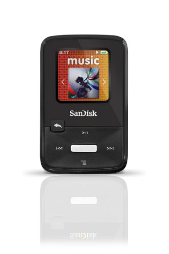 SanDisk Sansa Clip Zip 4GB MP3 Player, Black With Full-Color Display, MicroSDHC Card Slot and Stopwatch- SDMX22-004G-A57K (Discontinued by Manufacturer)