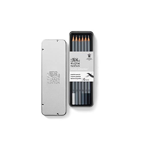 Winsor & Newton 490006 präzisions Bleistifte - Graphic , 6 Skizzierstifte in der Metallbox sortiert, 2H, HB, 2B, 4B, 6B, 8B