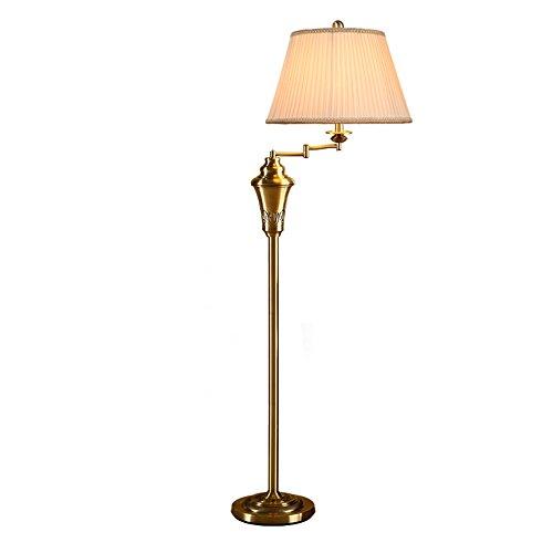 Vloerlamp Europese Minimalistische Gouden Vloerlamp 360 ° Roterende Rocker Vloerlamp Plisséstof Lamp Vloerlamp voor Slaapkamer Woonkamer Studeerkamer, Φ25 cm H153cm E27