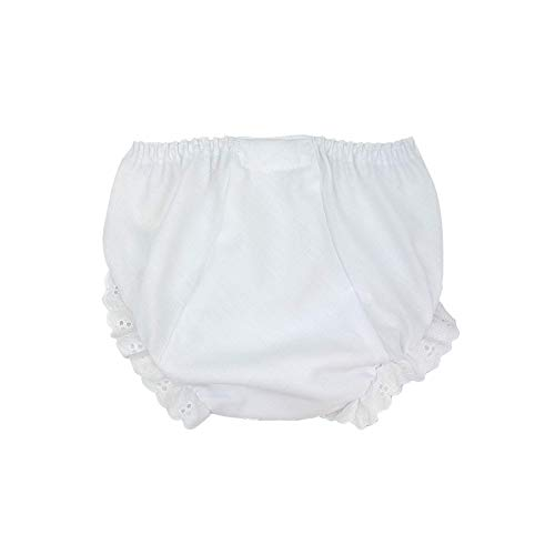 I.C. Collections Baby Girls White Double Seat Diaper Cover Bloomers, Size XL