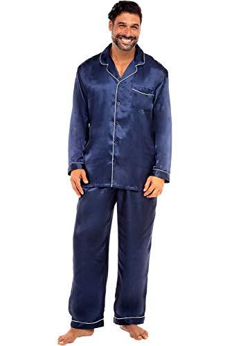 Alexander Del Rossa Men's Button Down Satin Pajama Set with Sleep Mask, Long Silky Pjs, Medium Deep Navy Blue (A0752MBLMD)