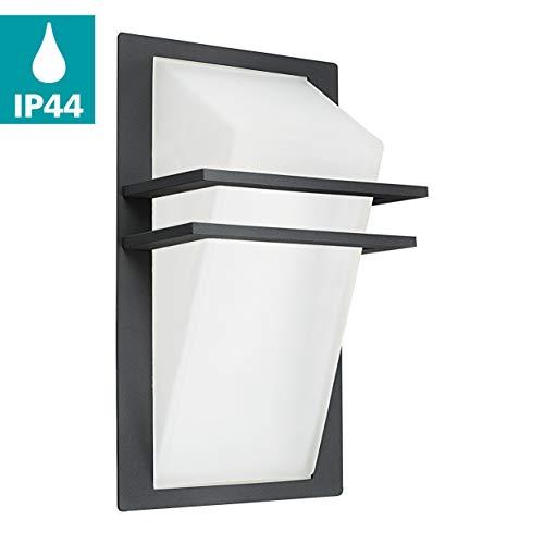 EGLO Außen-Wandlampe Park, 1 flammige Außenleuchte, Wandleuchte aus Aluguss und Glas, Farbe: Anthrazit, weiß, IP44