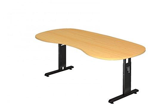 DR-Büro Schreibtisch höhenverstellbar nierenform 200 x 100 cm - Höhe 65-85 cm - Bürotisch mit schwarzem Gestell - 7 Farben, Farbe:Buche