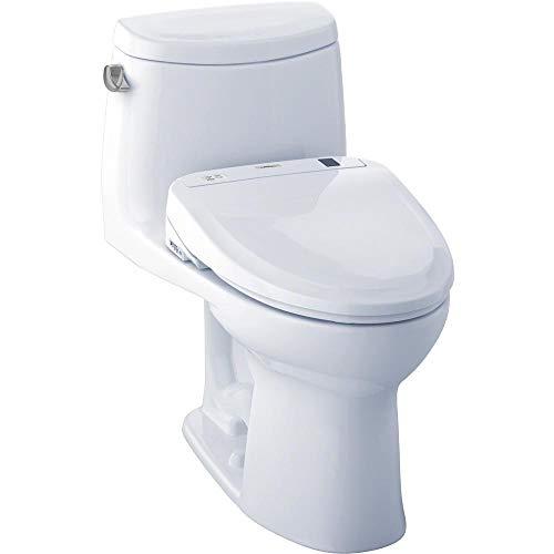 Toto WASHLET+ Kit UltraMax II 1-Piece Elongated 1.28 GPF Toilet and WASHLET S300e Bidet Seat, Cotton White (MW604574CEFG#01)