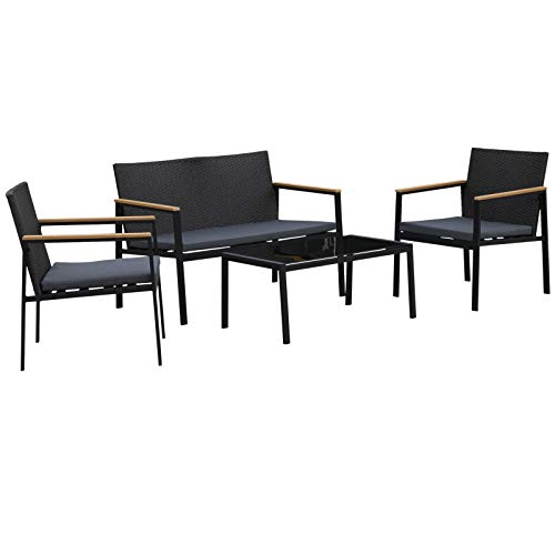 Outsunny 4PC Rattan Garden Furniture Set 2 Single Sofa Arm Chairs 1 Bench Loveseat with Cushions & Coffee Table Patio Backyard Wicker Weave