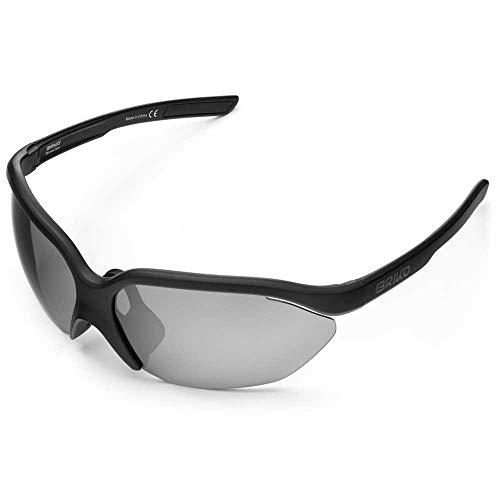 Briko - Occhiali da sole per ciclismo, unisex, per adulti, colore: nero opaco