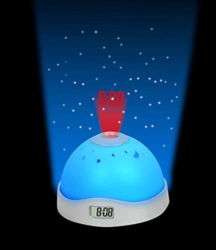 FosCadit Amazing Night Sky Moon Stars Projection Clock Alarm LED Digital Projection Sky Moon Star Starry Night Projector Alarm Clock (Multicolor)