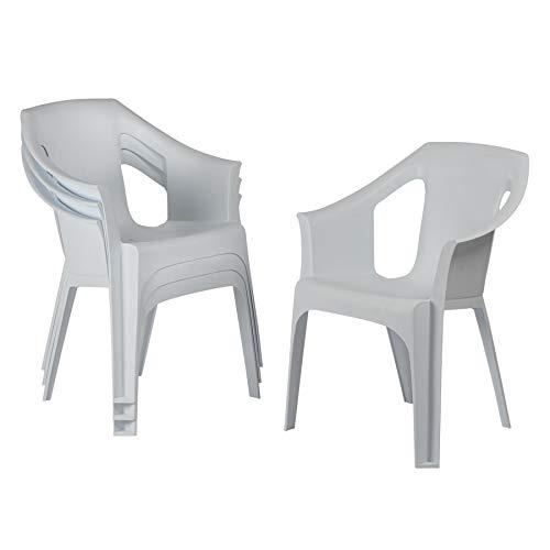 Resol 4 Piece Cool Plastic Garden Chair - Stackable UV Resistant Outdoor Patio Armchair - White