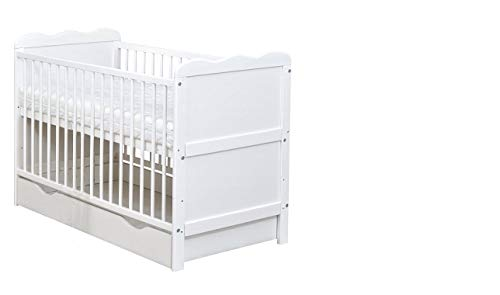 White Wooden 120x60cm Baby Cot Bed with Drawer & Mattress (Cot Bed with Drawer and Sprung Mattress)