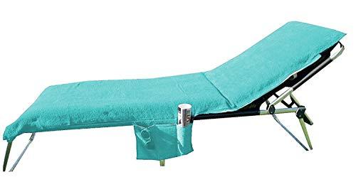 Home Edition Liegestuhl-Schonbezug mit Seitentaschen f. Gartenmöbel/Strandliegen Frottee 70x200 cm, türkis