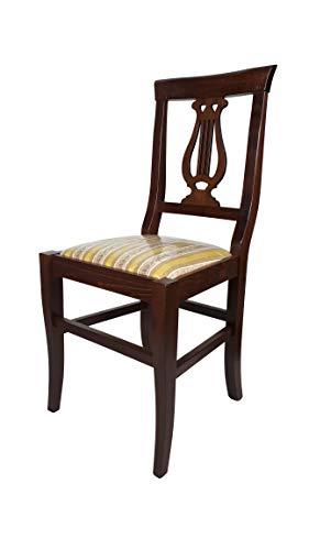 Sedia Lira, qualità Top, Vari Colori e Sedute Ordine Minimo 2 Pezzi (Noce, Imbottita Gialla)