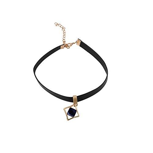 Preisvergleich Produktbild Fengxian Mode Charme Kette Stein Leder Halskette Kristall Anhänger Mehrschichtige Halskette Schmuck Zubehör [SYM]