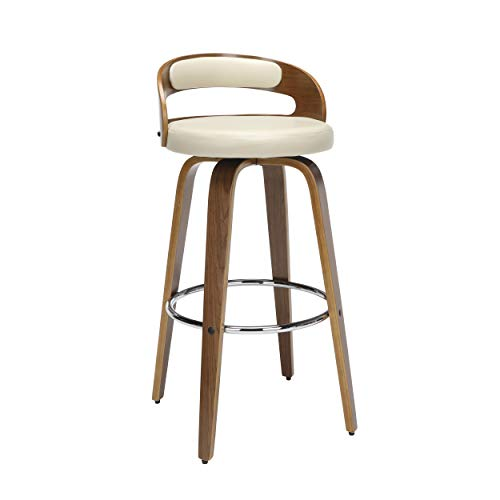OFM 161 Collection Mid Century Modern 30' Low Back Bentwood Frame Swivel Seat Stool with Vinyl Back and Seat Cushion, in Walnut/Ivory