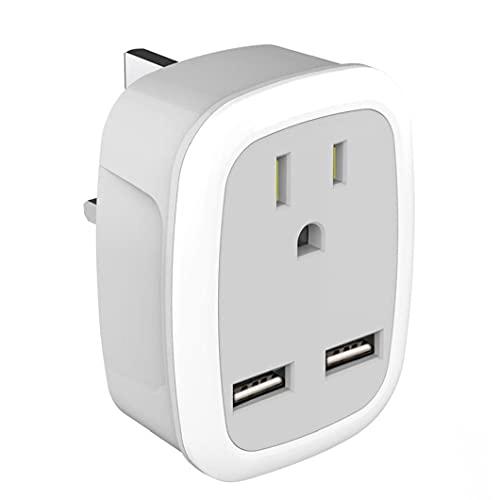 Adaptador de enchufe US al adaptador de enchufe de Viaje 100-250V en el Reino Unido con un indicador LED de puertos USB dual