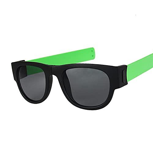 Hanpiyignstyj Gafas De Sol, Gafas de Sol de Espejo Redondo Gafas de Sol Plegables para Mujer Anti portátil para Mujer (Color : Green)