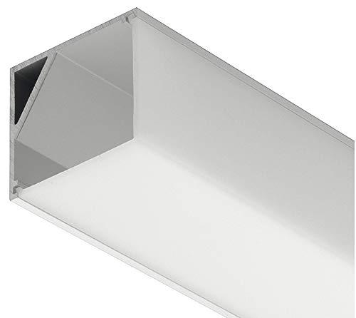 Preisvergleich Produktbild Gedotec Winkel-Profil Aluminium-Profil Eckprofil LOOX Profilleiste für LED-Streifen - Strip / Länge 3000 mm / Alu-Leiste silber eloxiert / Streuscheibe mattiert / 1 Stück - Aluprofil für LED-Bänder