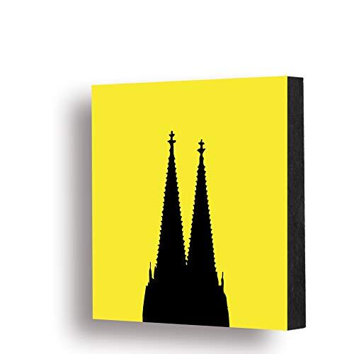 Köln Bild - 14x14cm Dom schwarz/gelb, MDF, Geschenk, Deko, Holz, Cologne, Kunst, Kölngeschenk