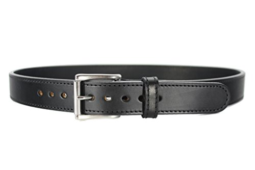 Steel Core Reinforced Leather Gun Belt - Thick Concealed Carry - Black 36