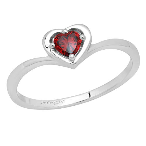 DazzlingRock Collection plata de ley 925 plata de ley corazón Red Garnet