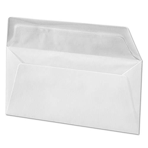 ARTOZ 50x Briefumschläge DIN Lang Blütenweiß 100 g/m² SEIDENFUTTER - (DL C5/6) 220 x 110 mm - Kuvert ohne Fenster - Umschläge Nassklebung mit Gummierung