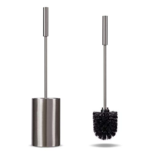 Deluxe Toilet Brush with Holder, Stainless Steel Toilet Bowl Brush, Rust-Resistant Fingerprint Resistant, Modern and Compact Toilet Cleaner Brush, Long Handle and Strong Bristles for Bathroom Cleaning