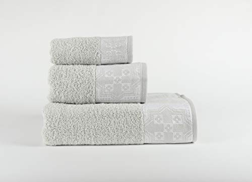 Forentex, 3-delige set Cosmos, multifunctionele absorberende handdoeken, voor badkamer, luxe, sportschool, strand, zwembad, 100% katoen, taupeset, 30 x 50, 50 x 100, 100 x 150 cm 3