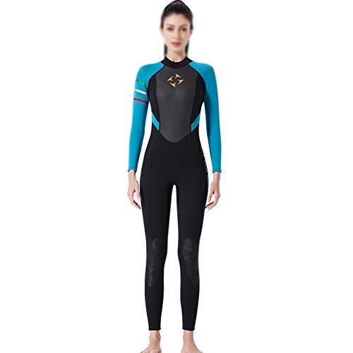 Zidao Frauen Neoprenanzug, Damen Sommer Voller Länge Neoprenanzug Für Wassersport Erwachsene Neopren Hochelastischen Surf Neoprenanzug,Blau,XL