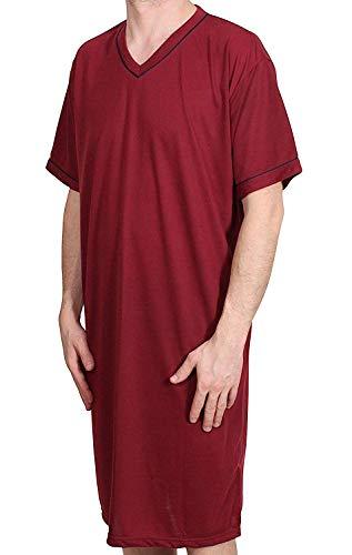 Herren Nachthemd KURZ UNIFARBEN Schlafanzug Pyjama Sleepshirt NACHTWÄSCHE Baumwolle GRÖSSE: L XL XXL XXXL (XXL / 56-58, ROT)
