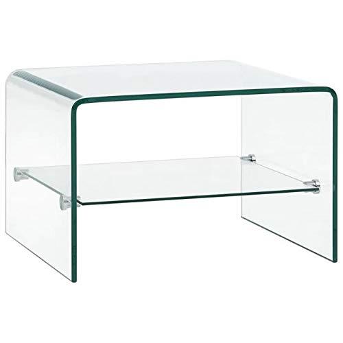 Tavolino Basso in Vetro Temperato con Ripiano Portaoggetti Salotto Soggiorno Sala da Pranzo Cubo Design Minimal Moderno Elegante Arredo Arredamento Luxury Z-87, 50 x 45 x 33 Cm
