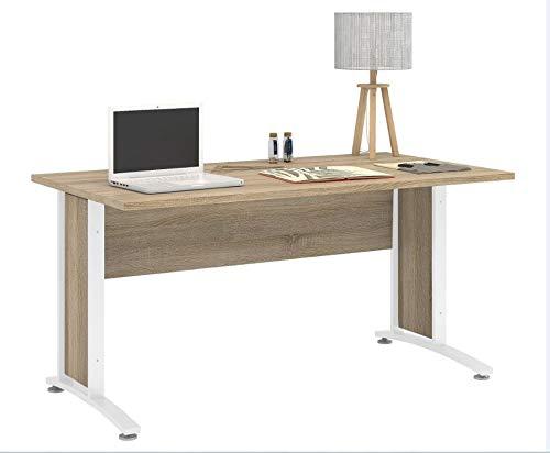 Tvilum Prima Schreibtisch 150x80cm Bürotisch Arbeitstisch Tisch Eiche Struktur Gestell Weiß