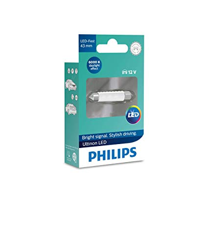 Philips 11864ULWX1 LED Festoon foco de señalización para automóvil (C5W), 6.000K, 43mm, blanco