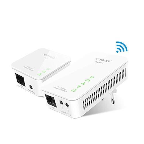 Tenda PW201A+P200 Kit Powerline WiFi, 2.4Ghz 300Mbp su Powerline, 1 Porte Ethernet, Plug and Play, HomePlug AV, 2*Internal antenna (1*WPS/Reset)