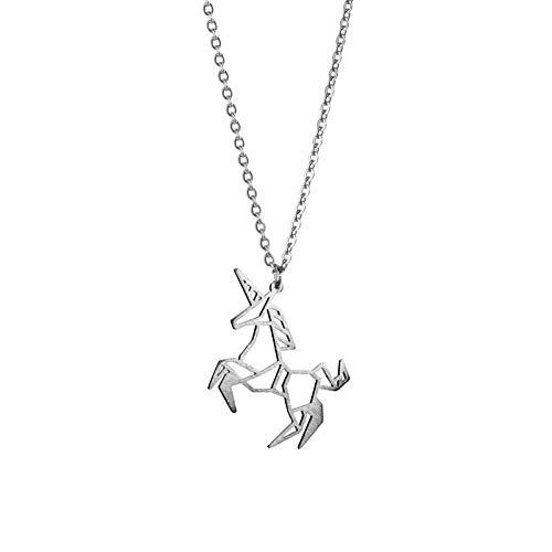 La Menagerie Unicornio Plata, Joya de Origami & Collar geométrico Plata Mujer - Collar bañado en Plata de Ley 925 con diseño Animal Unicornio - Joyería para niñas y Mujeres