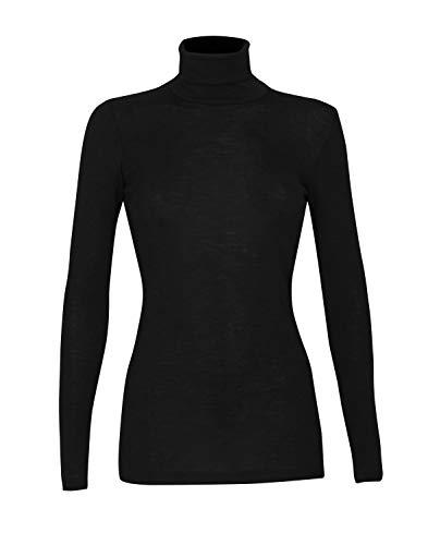 Dilling Rollkragen Shirt für Damen aus 100% Bio-Merinowolle Schwarz 38