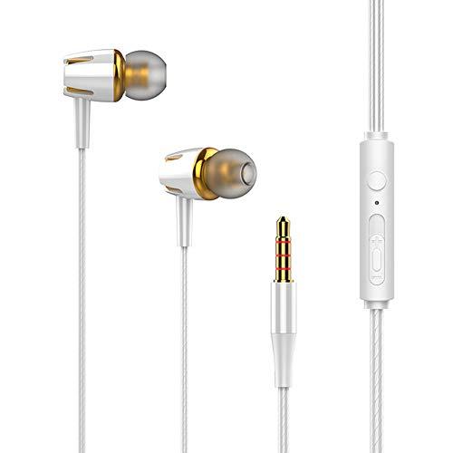 HShyxlkj In-ear hoofdtelefoon, universeel, 3,5 mm, met zware bass stereo headset met microfoon